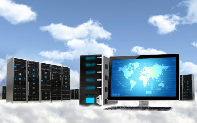 Cloud computing concept. Illustrated with computer  workstation and server cabinet above the cloud